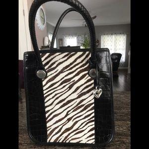 Brighton zebra calf skin leather tote